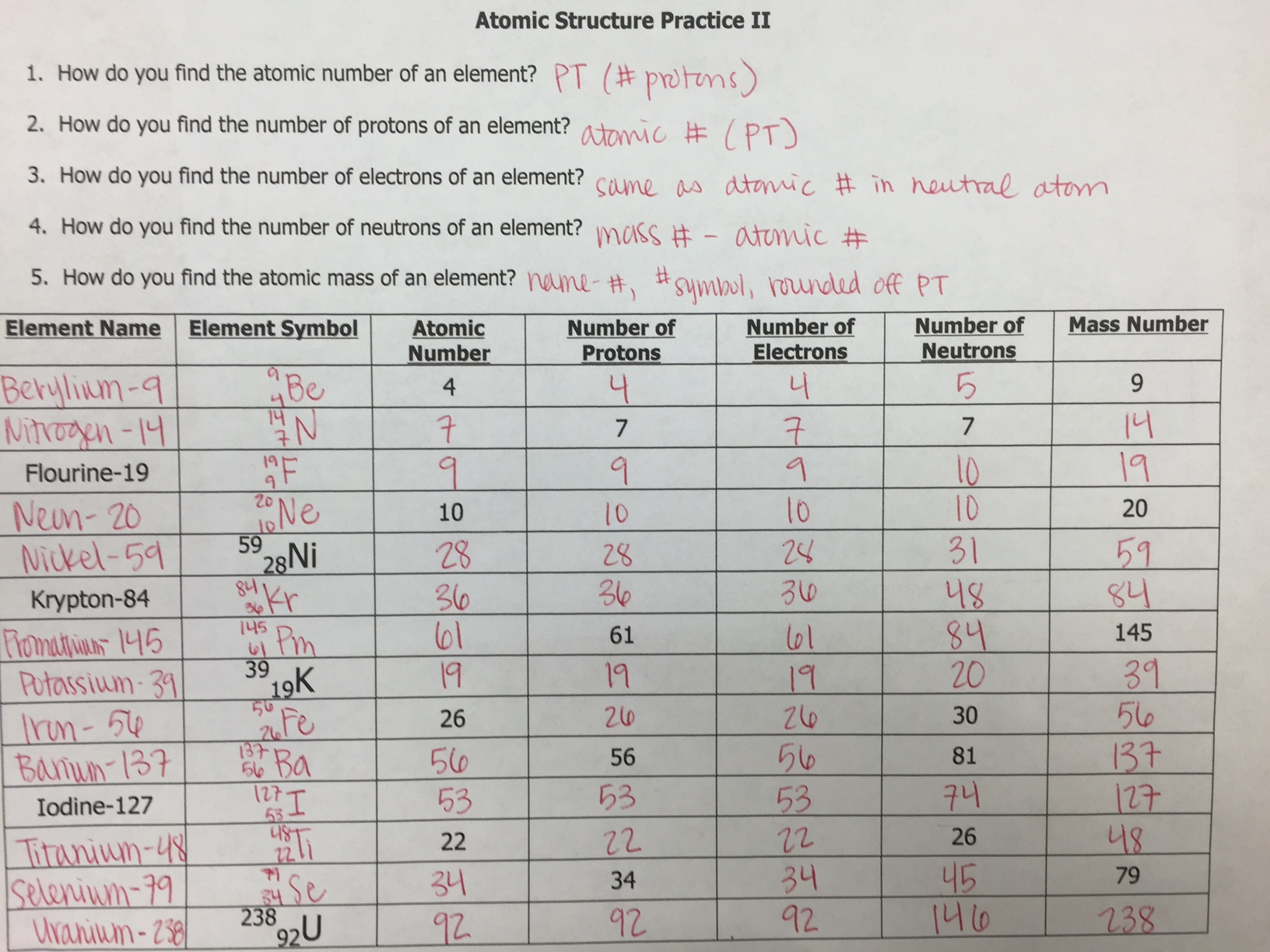 Worksheets Periodic Table Worksheet Answer Unit 2 unit 2 atomic structure ms holls physical science class answer key 3